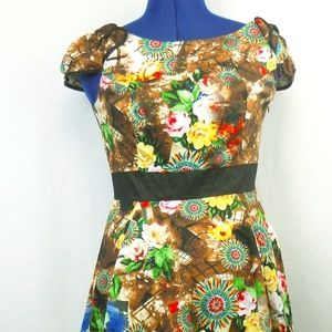 Hearts and Roses Southwestern Floral Dress Size 10